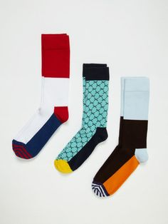Happy Socks for men. [Me: crazy, sexy socks that peek out of a super suave suit? Take me now or lose me forever!]