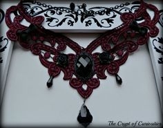 Burgundy lace and black glass crystal Gothic cameo choker.. £20.00, via Etsy.