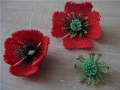 Poppy (poppy-head) picture tute.  Could this be used as an earring....or?   #Seed #Bead #Tutorials