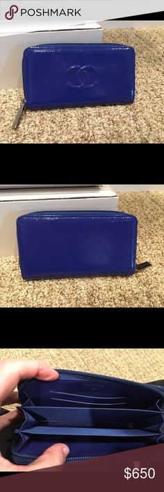 Chanel patent medium zip wallet Like-new zip around wallet, pretty patent blue. 2 cc slots, coin area. Comes with dust bag and authenticity card. CHANEL Bags Wallets