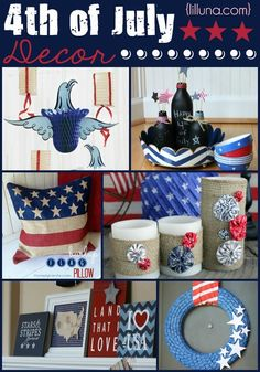 .Great roundup of Fourth of July Decor Ideas and crafts! #fourthofjuly