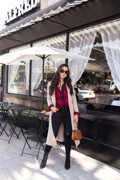 Red and black plaid shirt+black distressed skinny jeans+black knee-high boots+nude coat+brown handbag+sunglasses. Winter Casual/ Everyday Outfit 2017-2018