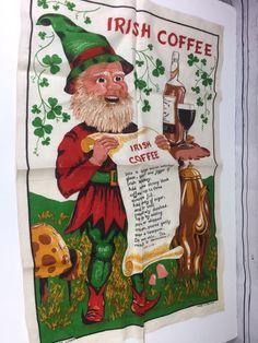 Leprechaun Irish Linen Kitchen Towel Elf Coffee Recipe Bright Tea Towel Unused