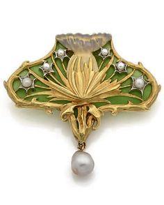 An Art Nouveau gold, enamel and pearl 'Thistle' pendant, French, circa 1900. Length 5cm.