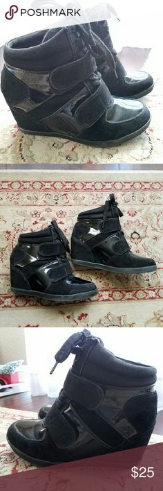 Hidden wedge sneakers Only worn a couple of times by my daughter. New condition. Super cute! Wanted Shoes Athletic Shoes