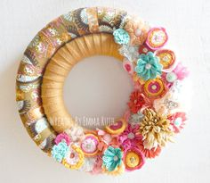 Modern Double Wrapped Fabric and Felt Wreath with Fabric and Felt flower embellishments in pink, cream, mint and mustard yellow
