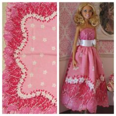Pink strapless Barbie ballgown and the vintage hankie it was made from