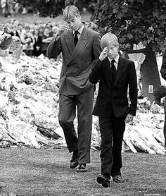 William and Harry after Diana's death, 1997