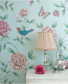 Fun wallpaper for a floral nursery. Isabelle Blue Wallpaper by Monsoon - Bird Wall Coverings by Graham Brown Wallpaper Pink And Blue, Brown Wallpaper, Modern Wallpaper, Blue Wallpapers, Designer Wallpaper, French Wallpaper, Beautiful Wallpaper, Bird Wallpaper, Pretty Wallpapers