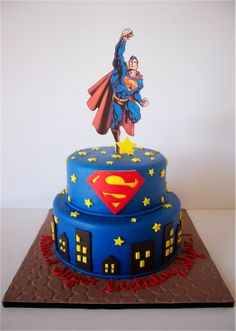 Sara Elizabeth Custom Cakes & Sweets: Cake Gallery. Superman cake! Edible image topper, fondant details. The stone-looking base was made using Duff fondant imprint (small plastic mat available at Walmart). www.facebook.com/saraelizabethcakesandsweets