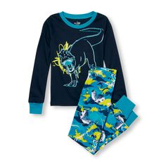 Boys Long Sleeve Glow-In-The-Dark Dinosaur Graphic Top And Fossil Camo Print Pants PJ Set