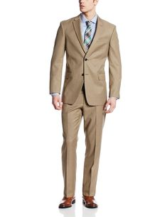 Tommy Hilfiger Men's Cashman 2 Button Side Vent Suit, Brown, 40 Short