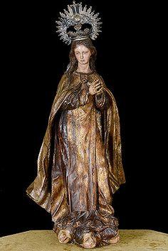 Virgen de la Merced Sevillian School Polychromed Wood Sculpture in the Style of Luisa Roldan or Jose Montes de Oca