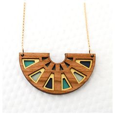 Items similar to Azteca Half Circle Necklace in Cherry Wood / Teal / Navy / Gold. Items similar to Azteca Half Circle Necklace in Cherry Wood / Teal / Navy / Gold. Wooden Necklace, Wood Earrings, Wooden Jewelry, Resin Jewelry, Pendant Jewelry, Jewelry Art, Handmade Jewelry, Jewelry Design, Wooden Bag