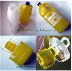 A super easy tutorial for making baskets from giant empty detergent-type plastic bottles and a group of other DIY reuse-recycle-repurpose ideas. Plastic Jugs, Plastic Bottle Crafts, Plastic Containers, Plastic Hangers, Recycled Crafts, Diy Crafts, Small Bottles, Recycled Bottles, Reuse Recycle