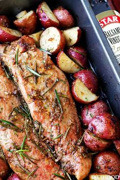 Garlic and Rosemary Balsamic Roasted Pork Loin - Easy to make, flavorful, incredibly tender pork loin rubbed with a Garlic and Rosemary Balsamic mixture makes for a crowd pleasing dinner with very little effort. paleo dinner for a crowd Easy Pork Loin Recipes, Meat Recipes, Cooking Recipes, Healthy Recipes, Roasted Pork Loin Recipes, Chicken Recipes, Pork Tenderloin Roast Recipes, Easy Pork Dinner Recipes, Pork Dinner Ideas