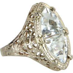 Vintage Art Deco Aquamarine Filigree Ring Estate 14 Karat White Gold Estate Fine Jewelry
