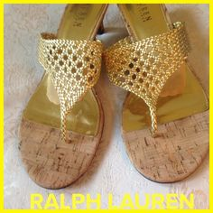 """""""I'm Not Really A Gold Digger"""" LRL Sandals I just like gold shoes!! These Lauren, Ralph Lauren sandals are fun for your feet!! Gold netting, cork soles and 2 inch cork heels. Excellent condotion⭐️ Ralph Lauren Shoes"""