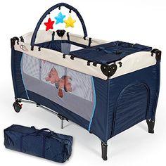 excelente TecTake Cuna infantil de viaje de altura ajustable con acolchado para bebé azul