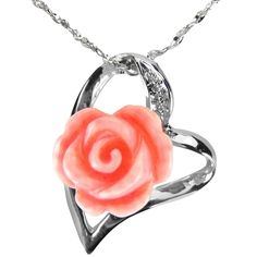 Pretty! - Red Coral Rose Heart Shaped Platinum Overlay CAREFREE Sterling Silver