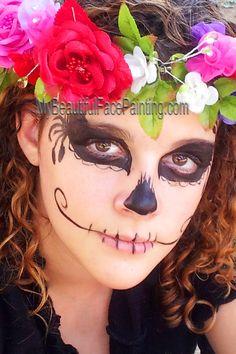 Super simple sugar skull painted with DFX black face paint.