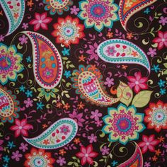 Michael Miller Paisley Spree in Cocoa - 1 yard