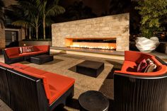 Stunning outdoor area in SD! Fireplace and couches = perfection. Ariva: San Diego, CA.