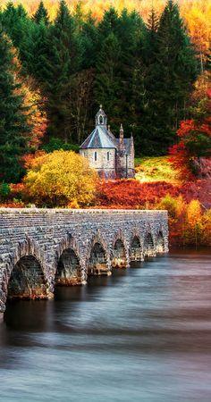 Nantgwyllt Chapel & Bridge, Elan Valley, Rhayader Dams, Wales
