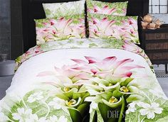 US$94.99 Queen Light Green Painting Printing Bedding With Grass Flowers. #Bedding #Painting #Light #Flowers