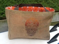 Original Day Of The Dead Design, Eco-Friendly Market Tote Bag, Handmade from a Recycled Coffee Sack. $25.00, via Etsy.
