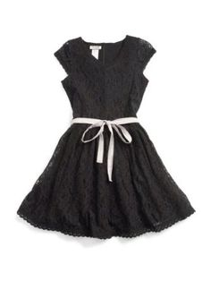 Amazon.com: GUESS Kids Girls Lace Dress with Tie: Clothing