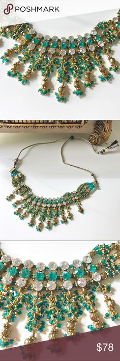 Anthropology gold green crystal necklace set Coming soon… Anthropologie Jewelry Necklaces