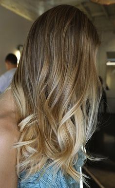 Natural looking dark blonde to light blonde ombré