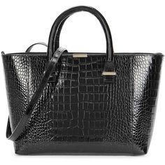 Womens Tote Bags Victoria Beckham Quincy Black Crocodile-effect... ($1,640) ❤ liked on Polyvore featuring bags, handbags, tote bags, black leather tote bag, real leather handbags, croc tote, leather handbags and black leather purse