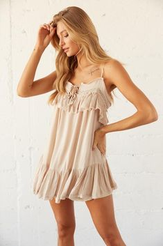 Say hello to the perfect boho summer vibe: The Fallon Ruffle Babydoll Romper! Featuring a keyhole cutout with double front ties, lace and ruffle detailing, and a flowy dress overlay for a relaxed babydoll fit. Available in misty blue and beige. Throw on the Luna Block Heel Mule for a femme finish. Tie Dress, Ruffle Dress, Nude Summer Dresses, Sorority Rush, Babydoll Dress, Size Model, Overlay, Lace Trim, Baby Dolls