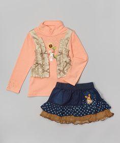 Loving this Orange Sunflower Top & Bunny Skirt - Toddler & Girls on #zulily! #zulilyfinds