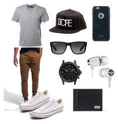 """Men's outfit"" by ccgrl808 on Polyvore featuring Moshi, Ray-Ban, Prada, Superdry, Converse, FOSSIL, Salvatore Ferragamo, Dope, men's fashion and menswear"
