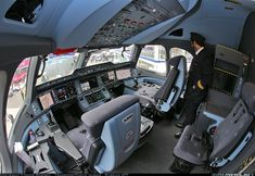 Roomy cockpit of A350 - Photo taken at Paris - Le Bourget (LBG / LFPB) in France on June 15, 2015.