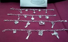 silver pl CHAIN CHARMS BRACELET Hairdresser Stylist Sewing Cooking DIY  gift box