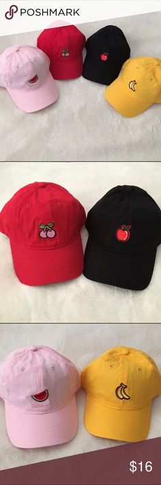 Fruit Hats dad caps pink red black & yellow Fruit hats / dad caps  Patches are made by me and these are 1 of 1 so once they are gone, that's it! Choose from pink (watermelon ), red (cherry ), black (apple ), or yellow (banana ). Each hat is made of high quality cotton that won't fade when washed. You can purchase right from this listing and comment which style you want, I will update the listing when each is sold so inventory is up-to-date #fruit #hats #unif #inspired #tumblr #aesthetic…