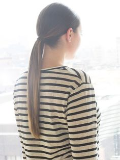 Low ponytail.