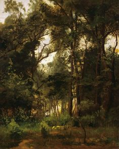 """László Paál - Hornbeam Grove (c. 1871) - Magyar Nemzeti Galéria, Budapest, Hungary ---------------------------------------------------------------------------- Painted by the Hungarian Barbizon artist László Paál (1846-1879). ---------------------------------------------------------------------------- """"Paal was greatly influenced by the work of Courbet and the painters of the Barbizon School, which he had already encountered at the French exhibition in Munich in 1869. After he had settled in… Barbizon School, Gcse Art, Budapest Hungary, Munich, Painters, Country Roads, French, Artist, Plants"""