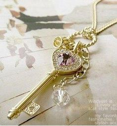 Cheap necklace juicy, Buy Quality necklace thick directly from China necklace with letter pendant Suppliers: fashion Jewelry wholesale Amethyst love golden crown statement key pendant Necklace women Golden Necklace, Key Necklace, Rhinestone Necklace, Crystal Necklace, Pendant Necklace, Crystal Rhinestone, Short Necklace, Key Jewelry, Jewelry Accessories