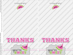 Free Printable Watermelon Thank you notes Sweet Notes, Love Notes, My Bridal Shower, Baby Shower, Printable Thank You Notes, Watermelon Bag, Cute Thank You Cards, Notes Free, Lunch Box Notes