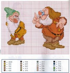 Snow White (Bashful and Doc) cross stitch