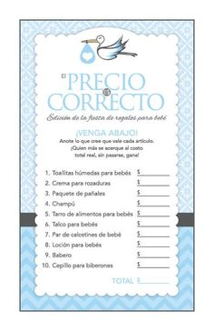 Instant Download Blue Stork Spanish Baby Shower by Studio20Designs