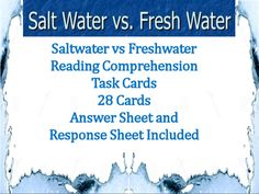 28 differentiated task card questions to help assess your students on important concepts covered in unit on water properties. Answer sheets and Response sheet included.Topics covered: Water on Earth, Freshwater vs. Saltwater, Drinking Water, Origins of WaterThese task cards are great for: -Science centers -Assessment -Independent Study -Review
