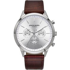 Pierre Cardin PC902361F03 Pierre Cardin, Stainless Steel Case, Quartz Watch, Chronograph, Watches, Band, Crystals, Brown, Leather