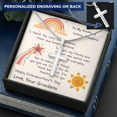 From Grandson, I thank the Lord for you-Cross Necklace - Standard Box
