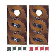 Brown Blue Abstract Swirl Cornhole Sets | Zazzle ($243) via Polyvore